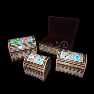 صندوق خاتم هلالی گل و مرغ